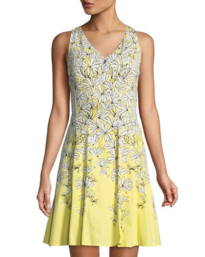 Stick Flower Flare V Neck Fit Dress London Maggy Yellow And 5n0xTE