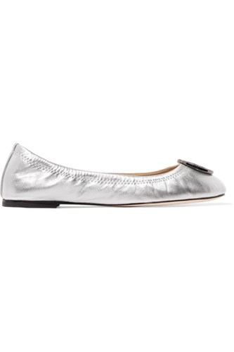 Tory Burch Liana Embellished Leather Ballet Flats Silver 1s5NQ2Xq
