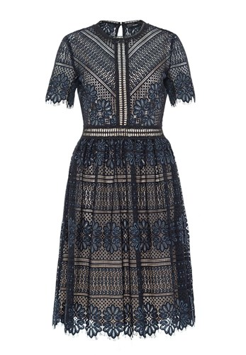 Hallhuber Lace Dress With Contrast Lining Indigo 0JKQFJcH