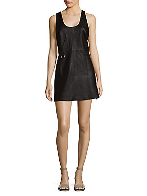 Veda Tempo Solid Leather A Line Dress Black NnDBpbDD9d