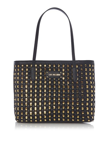 Love Moschino Tricot Large Tote Bag Black D7eDtt
