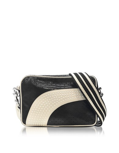 RED Valentino Handbags Black Milk White Perforated Leather Crossbody Bag W Studs DYlqqCtP