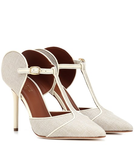 Malone Souliers Imogen Leather And Canvas Pumps Beige v49azE