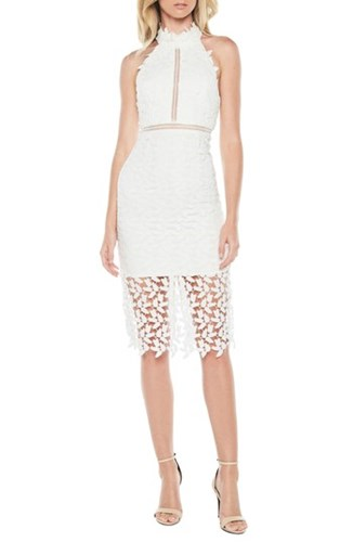 Bardot Gemma Halter Lace Sheath Dress Ivory GvnA8b