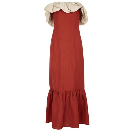 Rejina Pyo Allegra Ruffle Trimmed Linen Blend Dress Red iDzpi