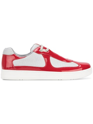 Top Prada Panelled Low Red Sneakers rERrFf1qc
