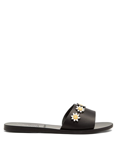 Ancient Greek Sandals Paola Daisy Embellished Leather Slides Black B8j8No3icI