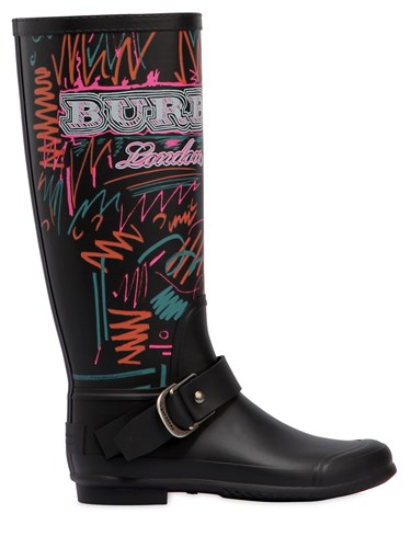 Burberry 20Mm Pip Field Doodle Rubber Rain Boots Black A3uRLje