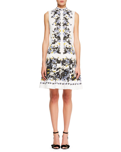 Erdem Windsor Sleeveless Floral Print Wallpaper Faille A Line Day Dress White Purple UwN4kpGXr