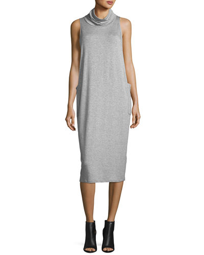Eileen Fisher Cowl Neck Sleeveless Knit Dress Petite Dark Pearl zWUDfHgB4