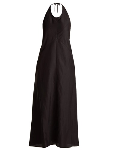 Raey Backless Seam Detail Halterneck Dress Black yMyKYbZG