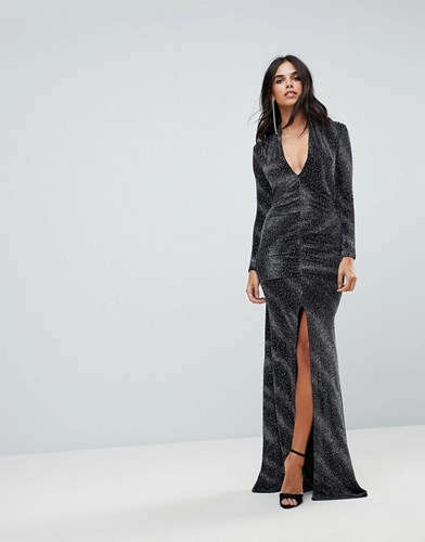 City Goddess Plunge Maxi Dress In Sheer Metallic With Thigh Split Black B43kcJQE