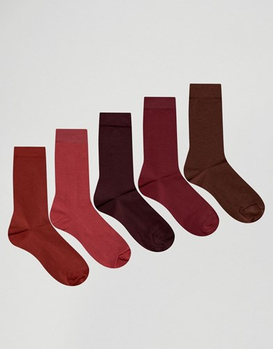 Socks In Red 5 Pack Red