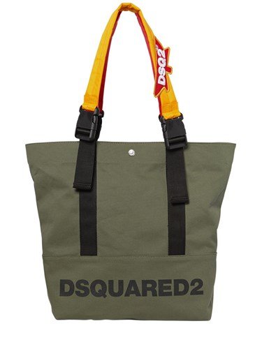 DSquared Backpack Straps Logo Canvas Tote Bag Military Green k1s33Oq