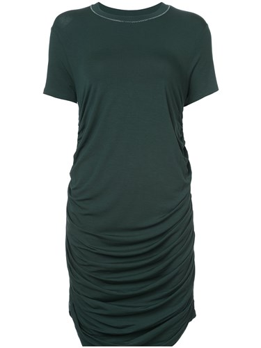 Carven Ruched T Shirt Dress Spandex Elastane Lyocell Green VzlwgGD
