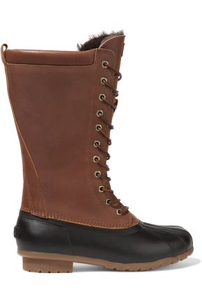 Australia Luxe Collective Havea Shearling Lined Leather And Rubber Rain Boots Black Xt2XL7