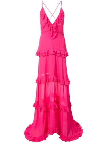 Nicole Miller Tiered Ruffle Gown Pink And Purple ycQo4I