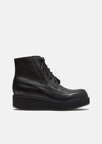 Y's Oiled Leather Mocca Boots Black FmI8m