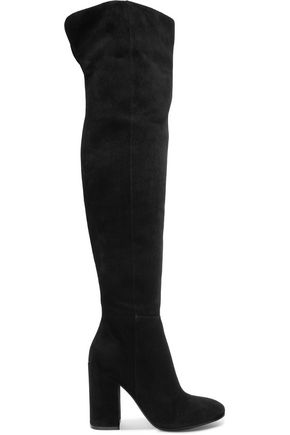 Gianvito Rossi Suede Over The Knee Boots Black qFRHN