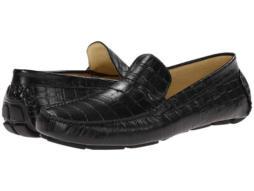 Massimo Matteo Croc Driver Black Croco Men's Flat Shoes oQmTr0
