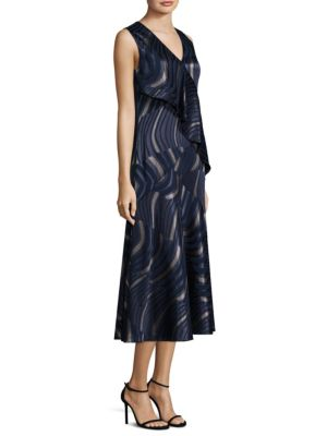 Lafayette 148 New York Simone A Line Dress Nu Blue Multi 8aRr80XSsZ