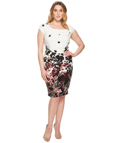 Adrianna Papell Plus Size Floral Bliss Printed Stretch Crepe Sheath Dress With Cowl Neckline And Draped Tucked Body Fully Lined Ivory Multi Women's Dress Bone kMkEK0