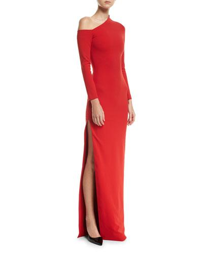 Solace London One Shoulder High Slit Crepe Knit Gown Red vmBAT2