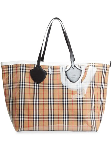 Burberry The Giant Reversible Tote In Plastic And Vintage Check Nude And Neutrals 6y5P5CR21