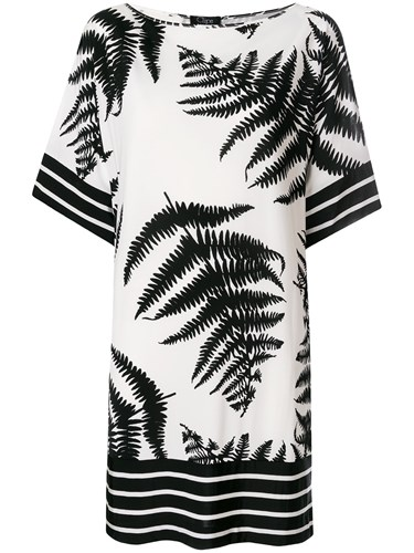 Clips Fern Print T Shirt Dress White H83uC