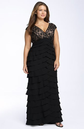 Adrianna Papell Plus Size Women's Lace And Shutter Pleat Gown ws5Zgpt6rs