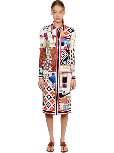 Tory Burch Patchwork Print Silk Shirt Dress Multicolor J7ccRAD5bg