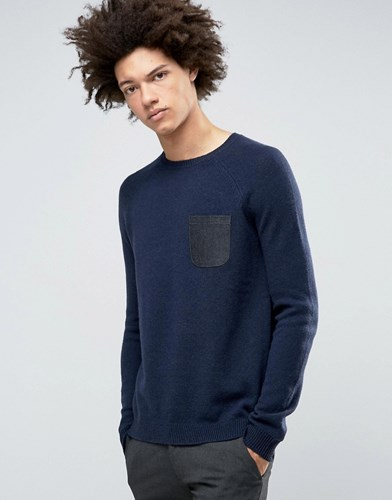 Lambswool Rich Jumper With Contrast Woven Pocket Navy