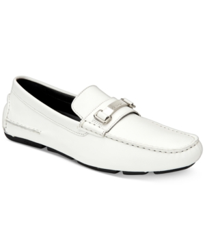 Calvin Klein Men's Maddix Textured Drivers With Bit Men's Shoes White Jinwr