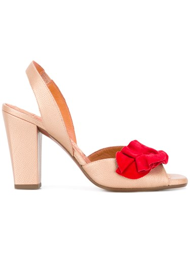 Chie Mihara Red Ruffle Sandals Nude Neutrals XA79ZS9
