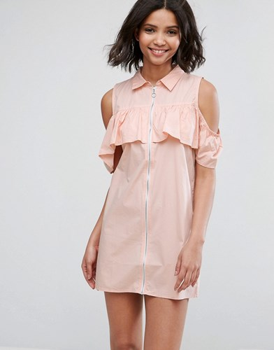 Influence Cold Shoulder Frill Dress Pink mijMct8jq