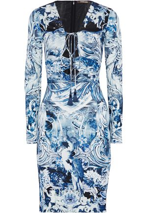 Roberto Cavalli Lace Up Printed Crepe Dress Blue 8cNqqhZd