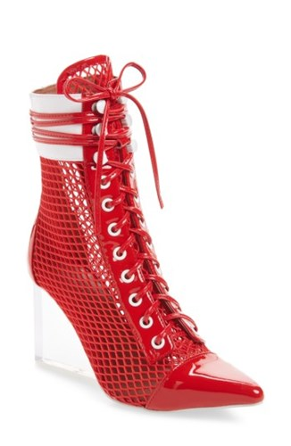 Jeffrey Campbell Cardi Mesh Bootie Red White Clear Mk7L0R179