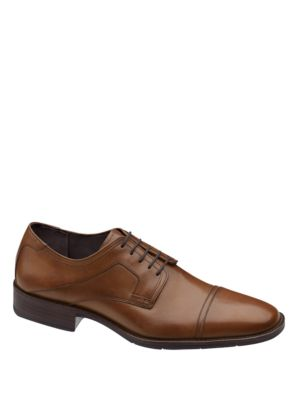 Johnston & Murphy Larsey Capped Toe Leather Oxfords Tan XivMVW