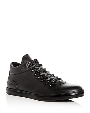 Kenneth Cole Men's Brand Tour Leather Mid Top Sneakers Black 6U2qo