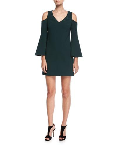 Trina Turk Double Luxe Cold Shoulder Funnel Sleeve Dress Forest ngHnLCK