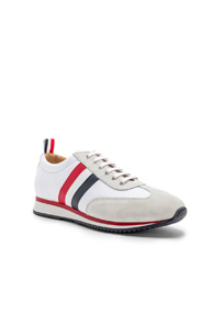 Thom Browne Suede Running Shoes In White OlEaFhpnY