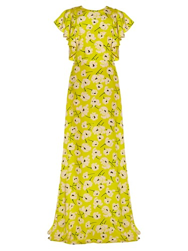 Rochas Magnolia Print Crepe De Chine Gown Yellow Multi QvkSyg