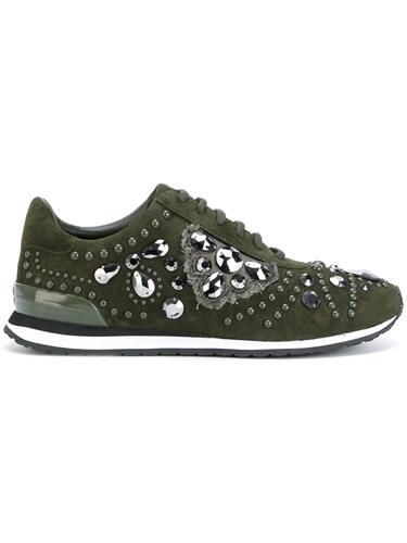 Tory Burch Scarlett Sneakers Cotton Leather Suede Glass Green CKXVN
