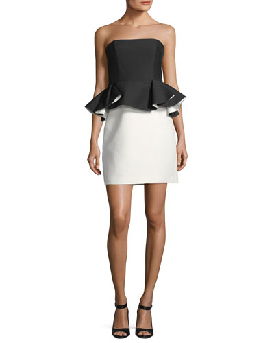 Halston Strapless Mini Peplum Colorblock Dress Black Cream dYHRLXT9