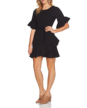 1.State Ruffle Belted Mini Dress Rich Black Sm2L5fo