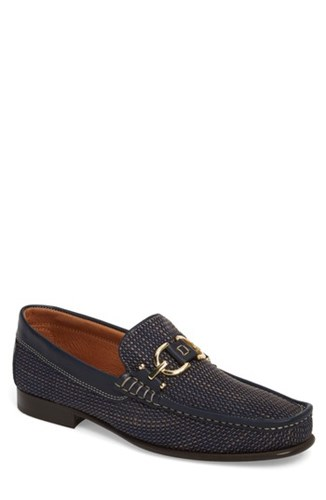 Donald J Pliner Dacio Woven Bit Loafer Navy Leather gNrZ77K