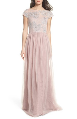 Hayley Paige Occasions 'S Embroidered Bodice Net Gown Dusty Rose mqrVqzb6m