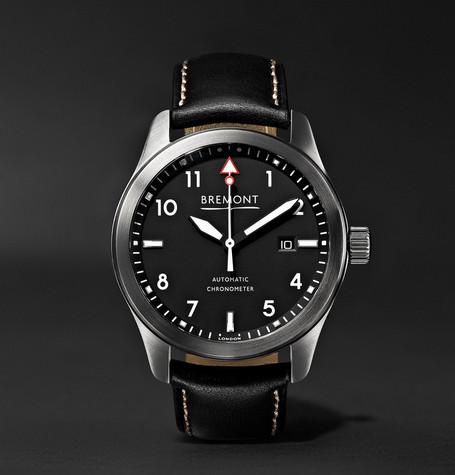Solo Wh Automatic 43Mm Stainless Steel And Leather Watch Black