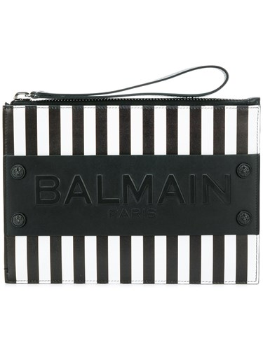 Balmain Striped Logo Clutch Black D3UwMBxyM
