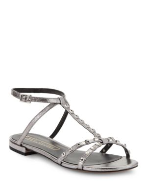 Marc Jacobs Ana Studded Metallic Leather Sandals Fuchsia opqkTYV1